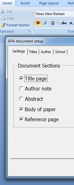 Start a new APA paper dialog in Word
